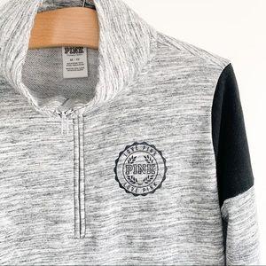 PINK Half-Zip Sweater - Black and Grey